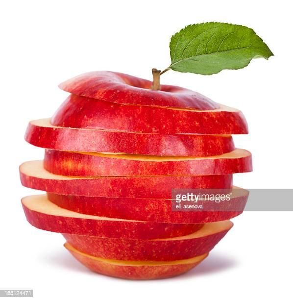 Sliced Red Apple and Leaf