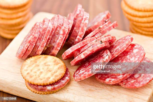 Sliced Salami And Crackers