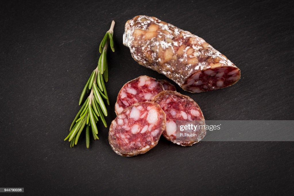 sliced salami : Stock Photo