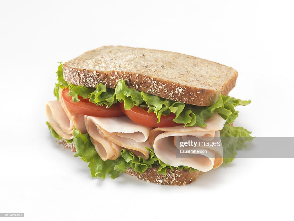 Sanduíche de peru defumado em fatias : Foto de stock