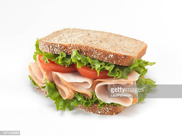 sliced smoked turkey sandwich - turkey meat stock pictures, royalty-free photos & images