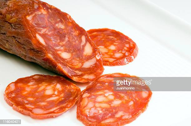 sliced sopressata - chorizo stock pictures, royalty-free photos & images