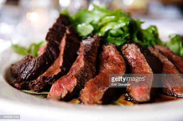 Sliced steak on a plate.  Delicious.
