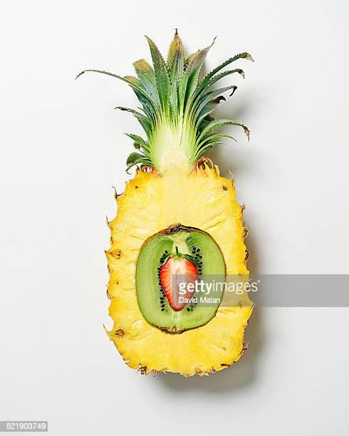 Sliced strawberry, kiwi-fruit and pineapple