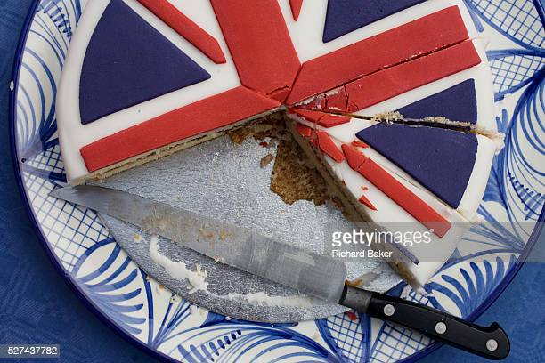 Sliced Union Jack cake at a neighbourhood street party in Dulwich south London celebrating the Diamond Jubilee of Queen Elizabeth A few months before...
