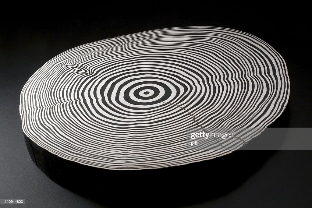 sliced wood with black and white annual rings : Stock Photo