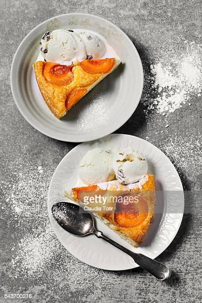 Slices of apricot tart
