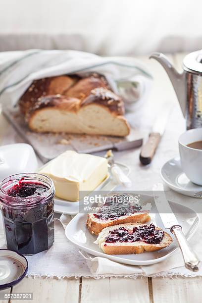 Slices of Challah with berry jam