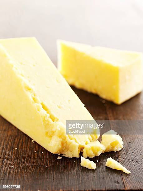 Slices of Cheddar cheese