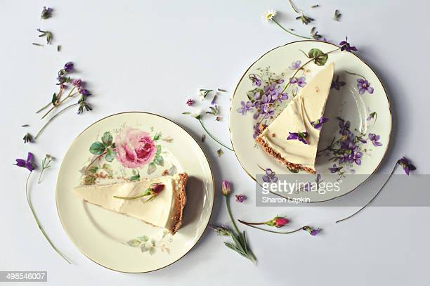 Slices of homemade cheesecake