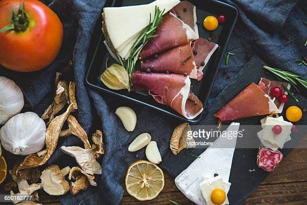 Slices of iberico ham tapas