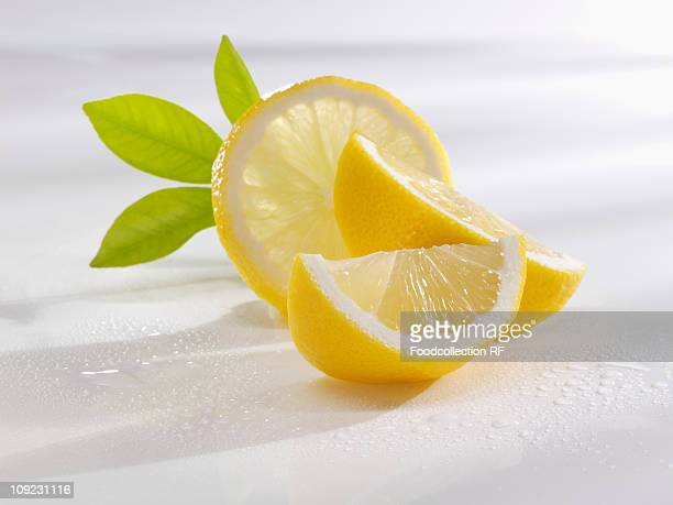 Slices of lemon with herb, close-up
