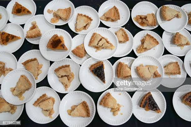 """Slices of pie are ready to be served during The Salvation Army and Safeway's 18th annual """"Feast of Sharing,"""" at the Walter E. Washington Convention..."""