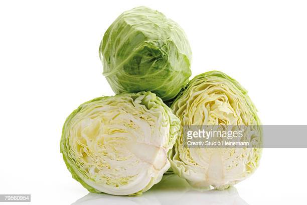 slices of pointed cabbages, close-up - cabbage stock pictures, royalty-free photos & images