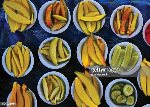 A slices of raw mango