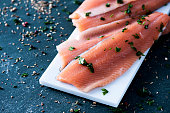 slices of raw trout