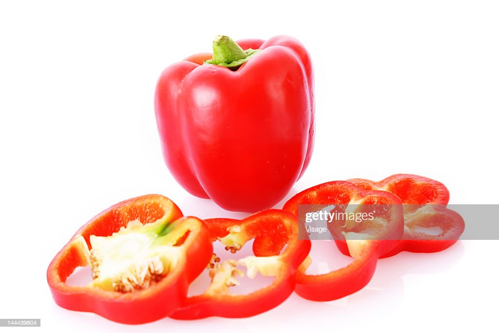 Slices of red bell Pepper : Stock Photo