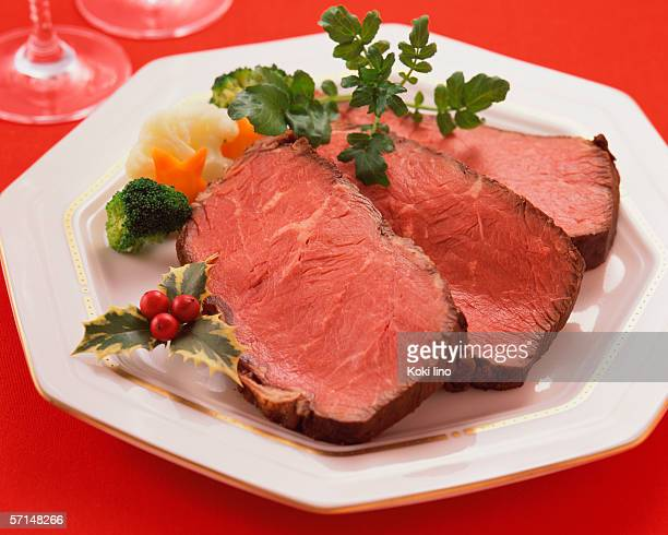 Slices of roast beef on plate, close-up