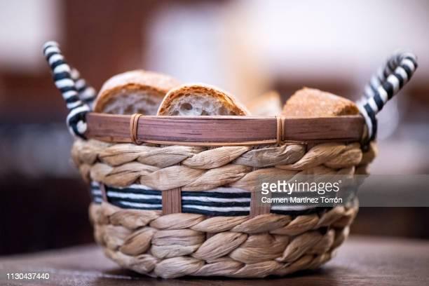 Slices of white bread in basket