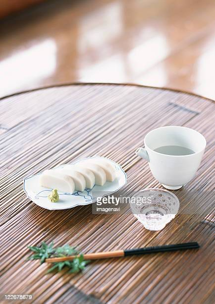 Slices of White Fish Paste Served with Wasabi