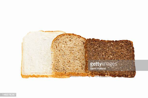 Slices of white, wholemeal and pumpernickel bread