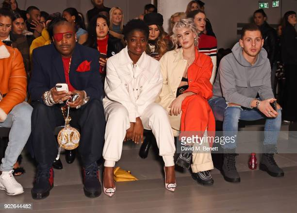 Slick Rick Clara Amfo AnneMarie and Charlie Colkett attend the Bobby Abley show during London Fashion Week Men's January 2018 at BFC Show Space on...