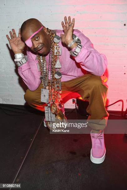 Slick Rick poses onstage at Def Jam's PreGRAMMY Celebration Presented by Patron Tequila with Parajumpers Puma Saucey and Heineken at the Garage on...