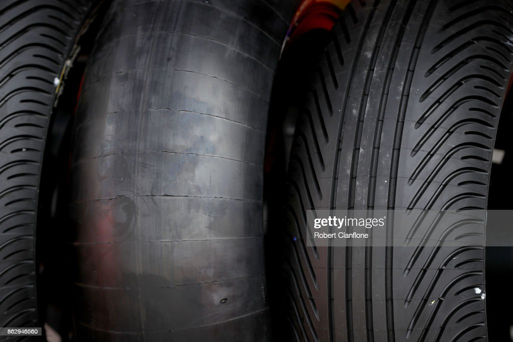 A slick tyre and a wet weather tyre are seen during previews ahead of the 2017 MotoGP of Australia at Phillip Island Grand Prix Circuit on October 19, 2017 in Phillip Island, Australia.