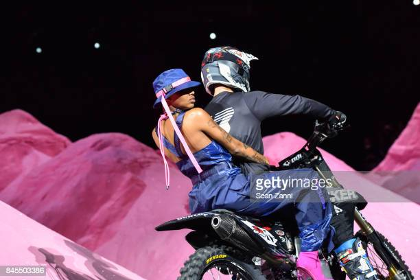 Slick Woods and Anthony Murray on the runway at the Fenty Puma By Rihanna fashion show during New York fashion week at Park Avenue Armory on...