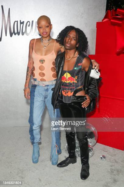 """Slick Woods and Sharmond Tanner attend the Neiman Marcus Celebrates The Launch Of Their """"Celebrate Big, Love Even Bigger"""" Holiday Campaign With 2021..."""