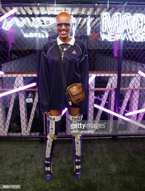 Slick Woods attends Moxy Times Square 'Coming Out' Party at Moxy Times Square on October 25 2017 in New York City