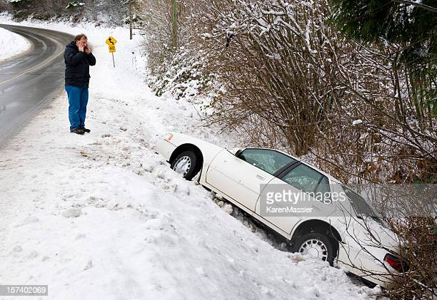 slid off the road - ditch stock photos and pictures