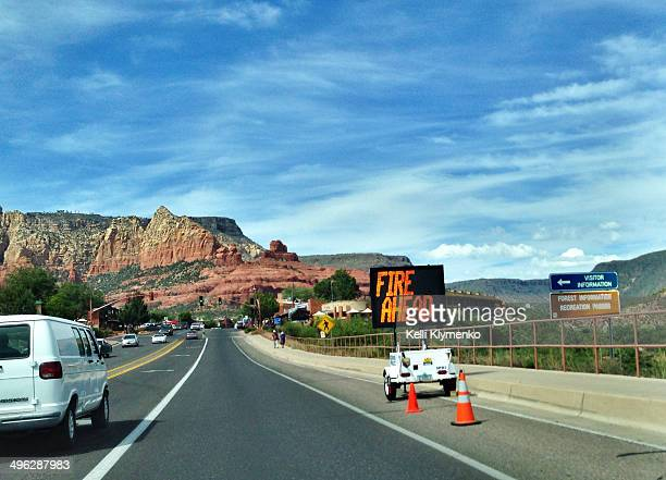 Slide Fire in Sedona Arizona closes down AZ Highway 89A to Flagstaff Image shot May 22 2014 in Sedona Arizona