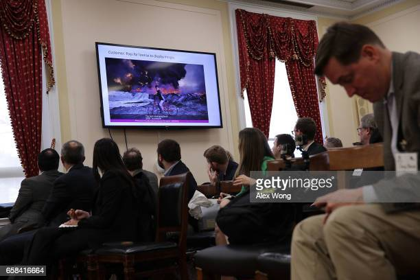 A slide from the presentation of Senior Vice President and General Counsel at Getty Images Yoko Miyashita is seen on a monitor during a briefing...
