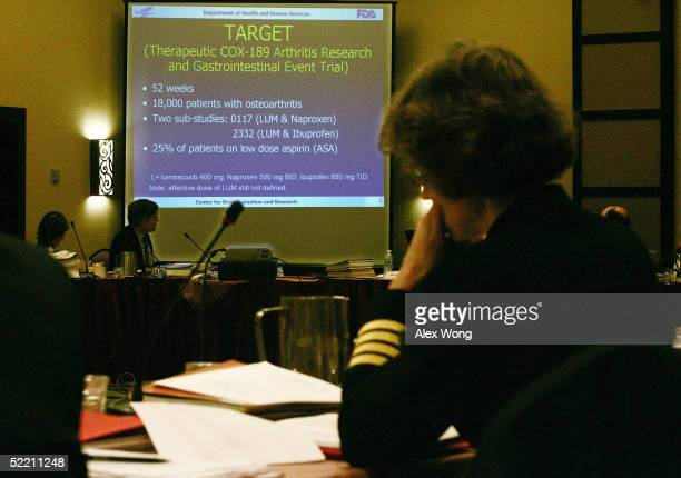 A slide is projected on a screen during the joint meeting of the Arthritis Advisory Committee and the Drug Safety and Risk Management Advisory...
