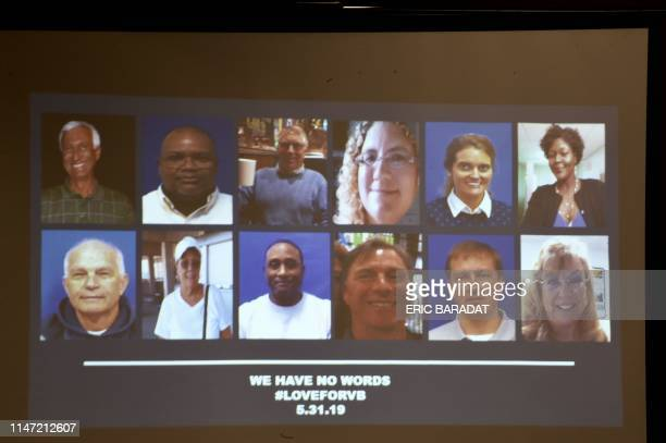 A slide of the victims in the May 31 2019 mass shooting at a Virginia Beach Virginia municipal building is shown during a press conference on June 1...