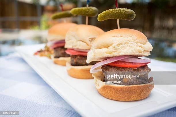 Slider Mini-Burgers on a plate