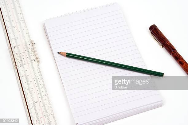 Sliderule Pad und Bleistift