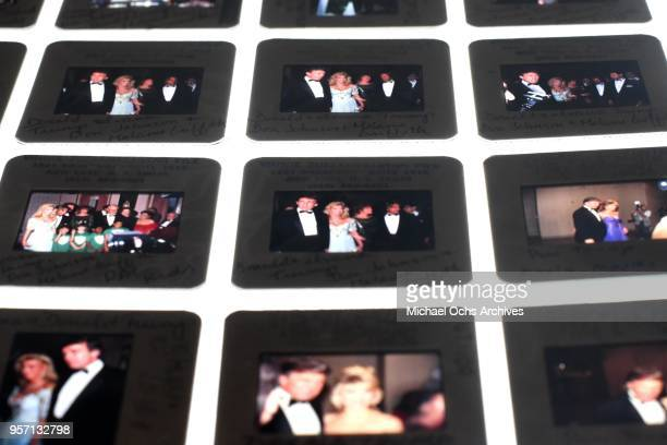 Slides of Donald Trump sit on a lightbox in the Michael Ochs Archives on May 10 2018 in Los Angeles California