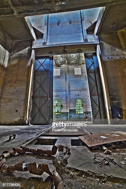 Sliding door of old warehouse