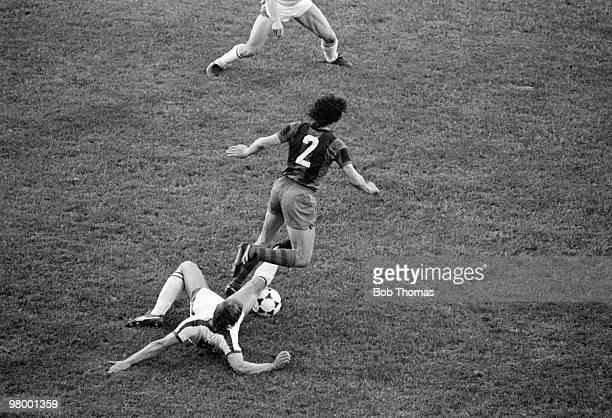 Sliding tackle from behind by Fortuna Dusseldorf defender Dieter Brei halts Barcelona's Zuviria during the European Cup Winners Cup Final between...