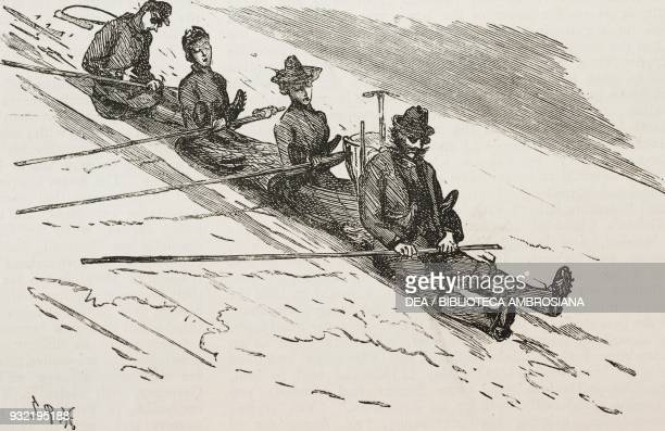 Sliding towards the valley hikers in the mountains an ascent of the Schilthorn from Murren Switzerland illustration from the magazine The Graphic...