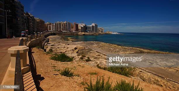 sliema, malta - waterfront stock pictures, royalty-free photos & images