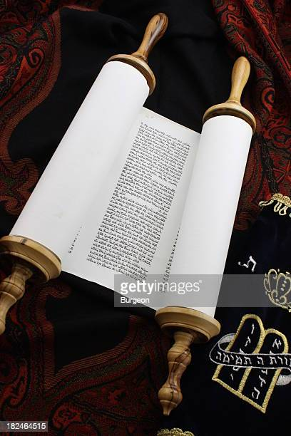slightly unrolled torah scroll - torah stock pictures, royalty-free photos & images