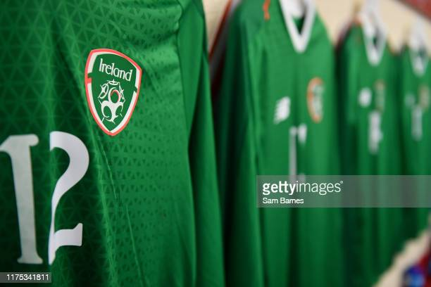 Sligo Ireland 11 October 2019 A detailed view of the shirt assigned to Harvey Neville of Republic of Ireland in the dressing room ahead of the...