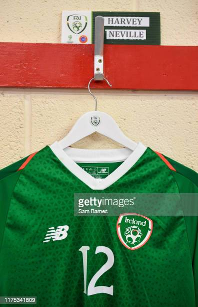 Sligo Ireland 11 October 2019 A view of the shirt assigned to Harvey Neville of Republic of Ireland in the dressing room ahead of the Under19...