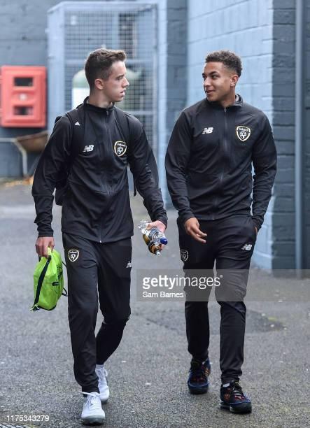 Sligo Ireland 11 October 2019 Republic of Ireland players Harvey Neville left and Lewis Richards arrive ahead of the Under19 International Friendly...