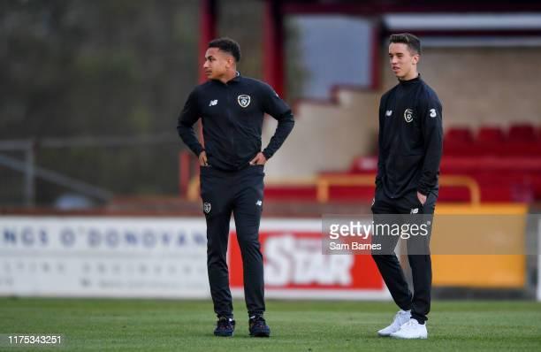 Sligo Ireland 11 October 2019 Republic of Ireland players Lewis Richards left and Harvey Neville inspect the pitch ahead of the Under19 International...