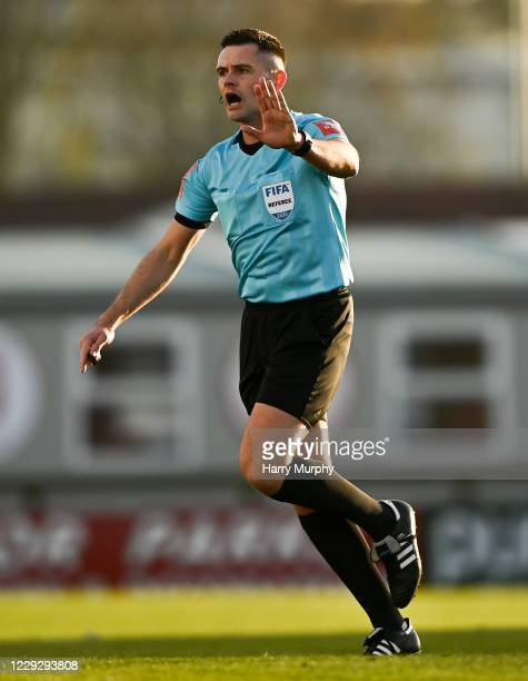 Sligo , Ireland - 24 October 2020; Referee Robert Hennessy during the SSE Airtricity League Premier Division match between Sligo Rovers and Cork City...