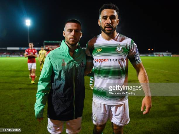 Sligo Ireland 5 October 2019 Shamrock Rovers players Jack Byrne left and Roberto Lopes who will join up with their respective international teams...